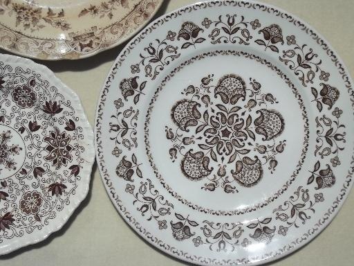 Old China Patterns & vintage brown transferware china plates lot, lovely old china