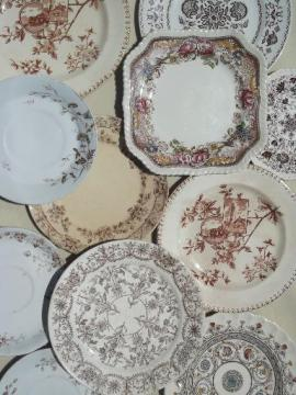 antique & vintage brown transferware china plates lot, lovely old china patterns!