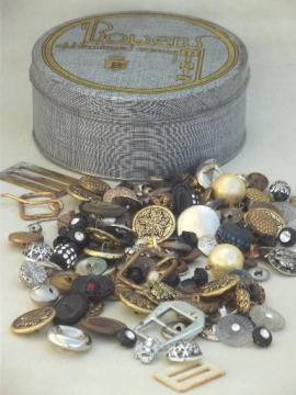 antique & vintage button lot for altered art or jewelry, old metal buttons