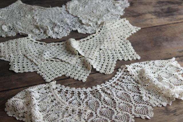 antique vintage camisole lace & lacy collars, Victorian Edwardian era trim for underwear & dresses