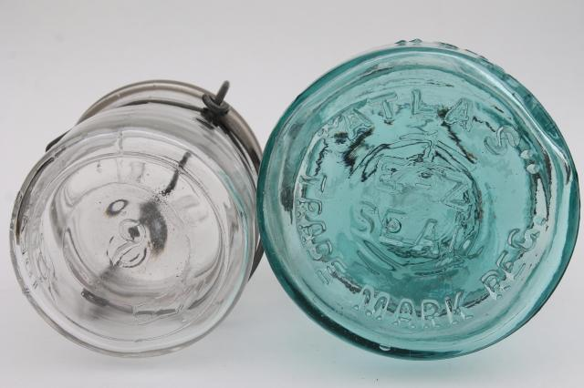 antique vintage canning jars, Ball Ideal Atlas E Z Seal pint and half pints blue & clear glass
