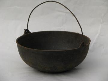 antique vintage cast iron cauldron pot, for campfire or wood stove
