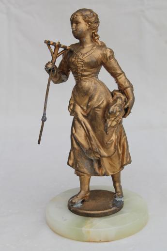 Antique Vintage Cast Metal Lamp Figure French Garden Girl