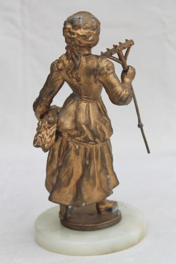 Antique Vintage Cast Metal Lamp Figure French Garden Girl