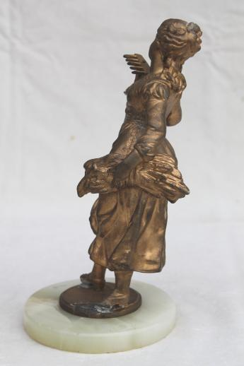 antique vintage cast metal lamp figure, french garden girl spelter statue w/ shabby gold
