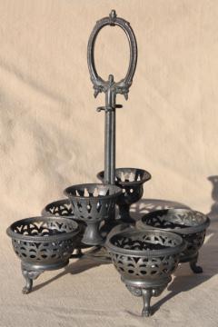 antique vintage castor set rack, worn silver plate table stand for egg holder?