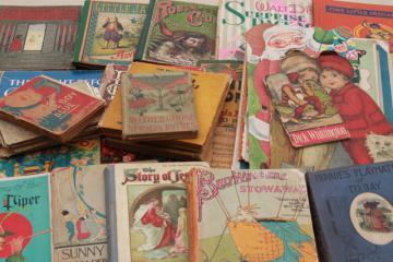 antique vintage children's book lot, 30+ shabby books for art illustrations, crafts, display