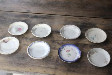 antique vintage china butter pats, shabby tiny plates collection of different pattern