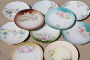 antique vintage china cake / dessert plates, shabby cottage chic painted floral dishes