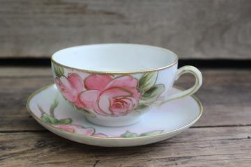 antique vintage china cup & saucer, hand painted Nippon rose w/ gold moriage