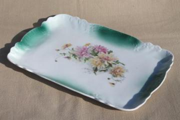 antique vintage china perfume bottle tray, lovely old flowered vanity table tray