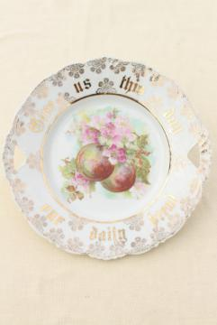 antique vintage china plate Give Us This Day Our Daily Bread grateful prayer