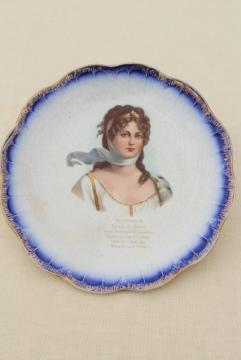 antique vintage china plate, flow blue border w/ portrait of a lady circa 1890s