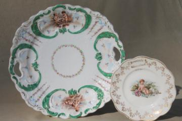 antique vintage china plates w/ flowers & cherub angels, shabby french country chic style