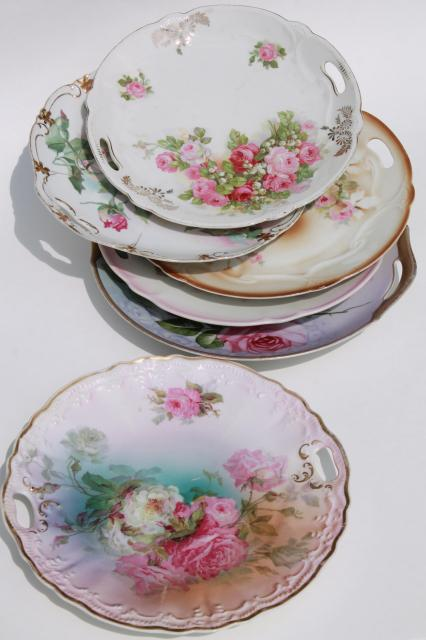 antique vintage china plates w/ hand painted roses shabby chic cabbage rose florals & antique vintage china plates w/ hand painted roses shabby chic ...