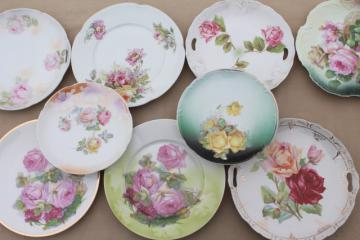 antique vintage china plates w/ hand painted roses, shabby chic cabbage rose florals