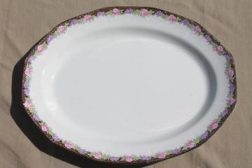 antique vintage china platter or tray, black border pattern w/ lilacs & peonies floral