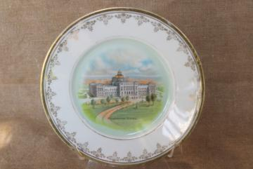 antique vintage china souvenir plate, Washington DC Congressional Library