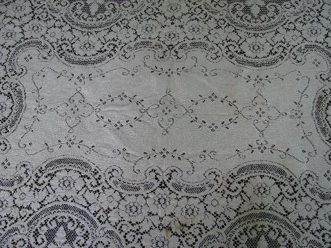 Antique Vintage Cotton Lace Tablecloths, Off White And Ecru