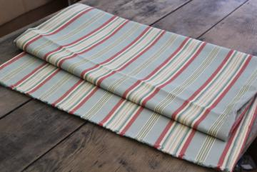 antique vintage cotton ticking bolster bed pillow cover barn red, cream, green chambray blue stripe