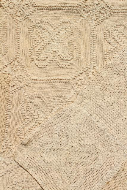 antique vintage coverlet, popcorn crochet bedspread, handmade crocheted lace spread