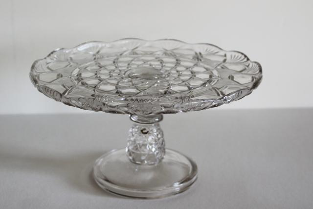 antique vintage crystal clear pressed glass cake stand, pineapple pattern EAPG
