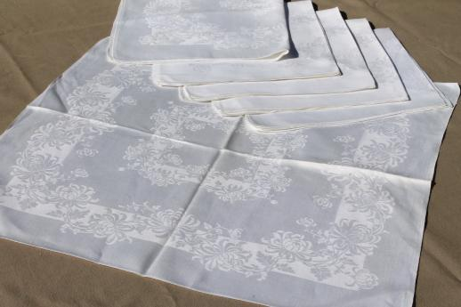 antique & vintage damask table linens, wedding tablecloths & napkins mixed linen huge lot