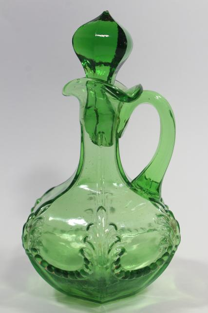 antique vintage emerald green glass cruet, EAPG acanthus leaf pattern pressed glass