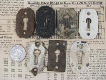 antique & vintage escutcheon keyhole shape face plate hardware lot