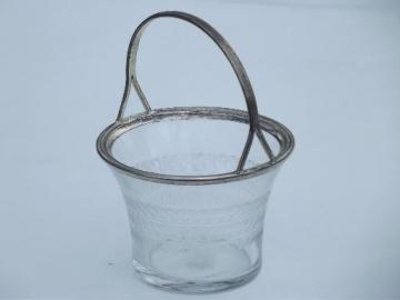 antique vintage etched glass and silver plate basket for candy or flowers