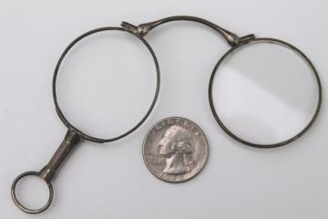 antique vintage eyeglasses frames, sterling silver lorgnette opera glasses