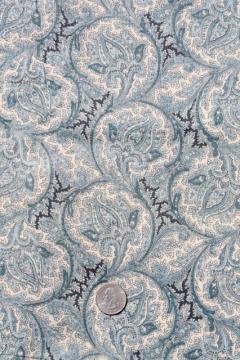 antique vintage fabric, blue paisley print lightweight cotton lawn or voile