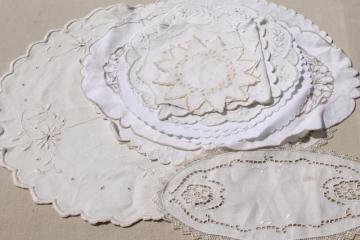 antique vintage fabric doilies w/ white work Madeira embroidery, table mats & tray cloth