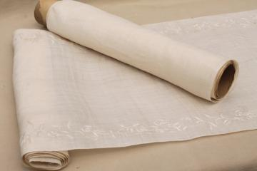 antique vintage fabric, fine handkerchief linen, plain and with swiss embroidery