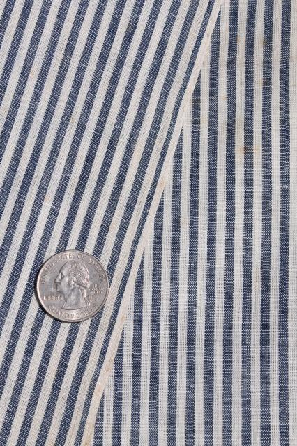 antique vintage fabric, hickory stripe cotton shirting, railroad striped work shirt material