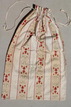 antique vintage fabric laundry bag w/ William Morris style aesthetic art nouveau print
