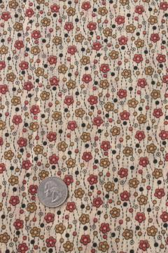 antique vintage fabric, orange & gold flowers tiny print lightweight cotton lawn or voile