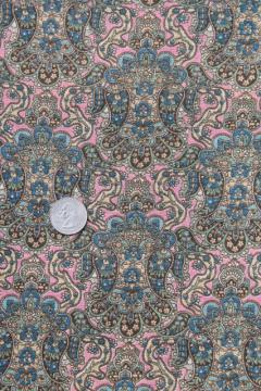 antique vintage fabric, pink paisley print lightweight cotton lawn or voile