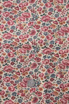 antique vintage fabric, pink roses print lightweight cotton lawn or voile