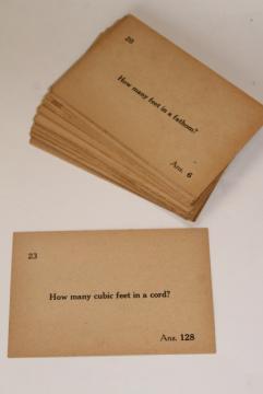 antique vintage flash cards, classroom math & measurements quiz question cards