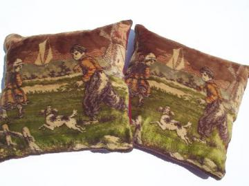 antique vintage flemish cotton plush velvet tapestry pillows, boy w/ dog