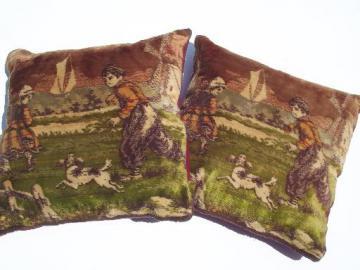 antique vintage flemish cotton plush velvet tapestry pillows, boy w/ dog
