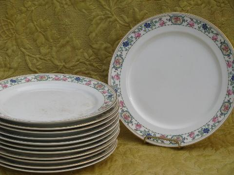 & antique vintage floral Pope-Gosser china dinner plates set of 12