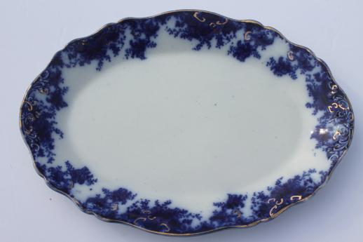 Antique Vintage Flow Blue China Serving Pieces Large