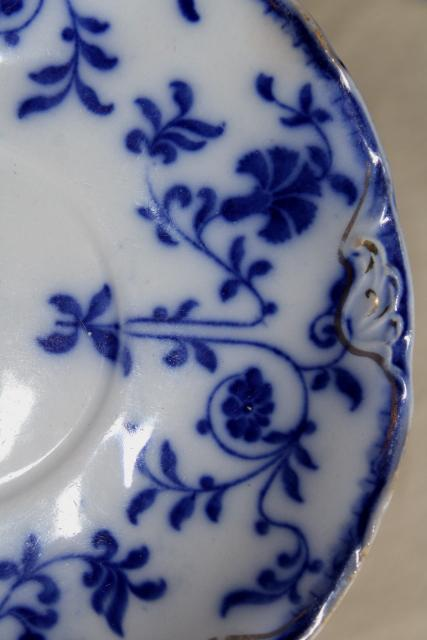 antique vintage flow blue & white china, instant collection of 12 plates saucers