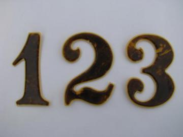 antique vintage french ivory and faux tortoiseshell architectural sign numbers