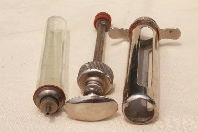antique vintage glass & metal syringe veterinary medicine farm livestock