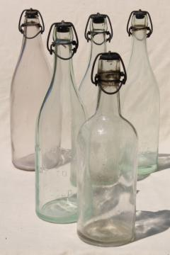 antique & vintage glass bottles w/ wire bail lids, old embossed glass wine bottles