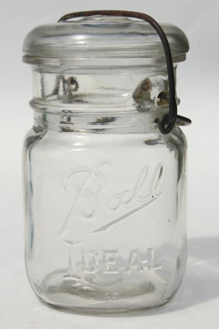 Antique Vintage Glass Canning Jars W 1908 Patent Dates
