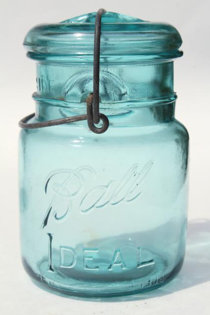 Antique Vintage Glass Canning Jars W 1908 Patent Dates